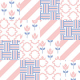 Patchwork quilt vector pattern tiles Royalty Free Stock Image