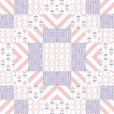 Patchwork quilt vector pattern tiles. Stock Photo
