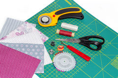 Patchwork and quilting instruments, items and fabrics hobby comp Royalty Free Stock Photos