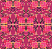 Patchwork. Red seamless pattern in style of patchwork. Hand-drawn illustration. Vector royalty free illustration