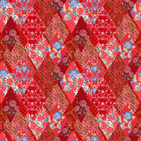Patchwork red seamless pattern Stock Image