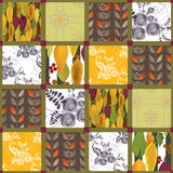 Patchwork retro autumn floral pattern background Stock Images