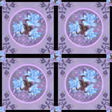 Patchwork retro blue roses floral textile pattern background Royalty Free Stock Image