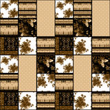 Patchwork retro brown roses textile texture pattern background Stock Image