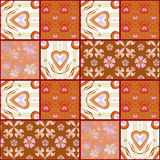 Patchwork retro checkered fabric texture pattern background Royalty Free Stock Photo