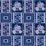 Patchwork retro checkered floral fabric texture pattern backgrou Royalty Free Stock Images