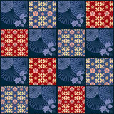 Patchwork retro checkered floral fabric texture pattern backgrou Stock Images