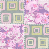 Patchwork retro checkered floral fabric texture pattern backgrou Stock Photo