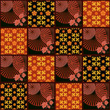 Patchwork retro checkered floral fabric texture pattern backgrou Royalty Free Stock Photos