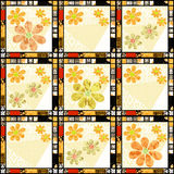 Patchwork retro checkered floral fabric texture pattern Stock Photos