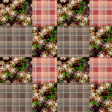 Patchwork retro checkered floral pattern background Stock Photo