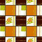 Patchwork retro checkered floral texture pattern background Stock Photos