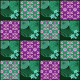 Patchwork retro checkered floral texture pattern background Stock Image