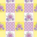 Patchwork retro checkered floral texture pattern pastel backgrou Stock Photo