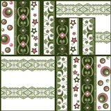 Patchwork retro checkered lace fabric pattern background Royalty Free Stock Images