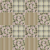 Patchwork retro colors checkered floral pattern background Royalty Free Stock Photo
