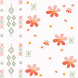 Patchwork retro colors geometrical floral pattern background Stock Images