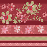 Patchwork retro colors geometrical floral pattern texture backgr Stock Photos
