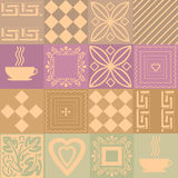 Patchwork retro colors pattern with elements Stock Image