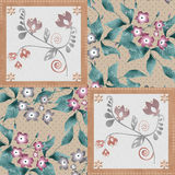 Patchwork retro floral textile texture pattern background Royalty Free Stock Photos