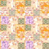 Patchwork retro floral textile texture pattern background Royalty Free Stock Photo