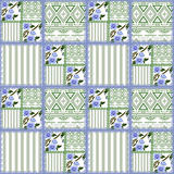 Patchwork retro flowers checkered texture pattern background Royalty Free Stock Image