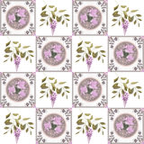 Patchwork retro flowers floral textile texture pattern backgroun Royalty Free Stock Image