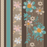 Patchwork retro geometrical floral vertical pattern texture back Stock Photos