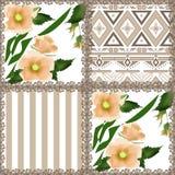 Patchwork retro orange checkered floral texture pattern backgrou Royalty Free Stock Photos