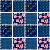 Patchwork retro pilka dot floral texture pattern background Stock Images