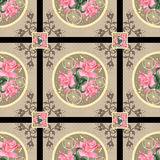 Patchwork retro pink roses floral textile pattern background Stock Images