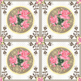 Patchwork retro pink roses floral texture pattern background Stock Images