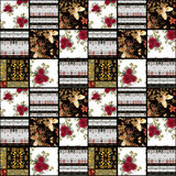 Patchwork retro red roses textile texture pattern background Royalty Free Stock Image