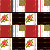 Patchwork retro red white checkered floral texture pattern backg Stock Photos