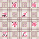 Patchwork retro roses floral textile texture pattern background Stock Images