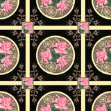 Patchwork retro roses floral textile texture pattern background Royalty Free Stock Photo