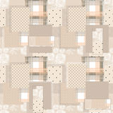 Patchwork retro seamless dotted pattern background Stock Photos