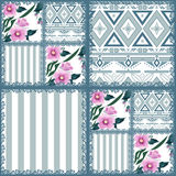 Patchwork retro striped floral texture pattern pastel background Stock Images
