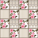 Patchwork retro striped floral texture pattern pastel background Stock Photos