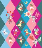 Patchwork rhombus background with cute funny animals - little cats, foxes, raccoons and monkey. Seamless vector pattern for kid.  vector illustration