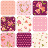 Patchwork with Roses Background Stock Photos