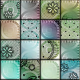 Patchwork with satin fabric Stock Images