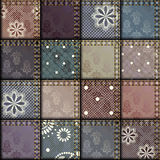 Patchwork of satin fabric Stock Images