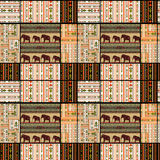 Patchwork seamless african pattern texture background with eleph Stock Photography