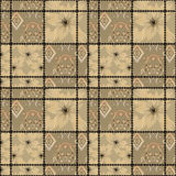Patchwork seamless beige pattern with flowers Royalty Free Stock Photography