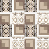 Patchwork seamless beige pattern geometric elements background Royalty Free Stock Photo