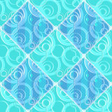 Patchwork seamless blue pattern circles ornamental Stock Image