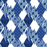 Patchwork seamless blue pattern white background. Royalty Free Stock Images