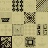 Patchwork seamless bright pattern with elements and cup of coffe Stock Photos