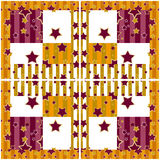 Patchwork seamless bright retro checkered stars pattern backgrou Royalty Free Stock Image